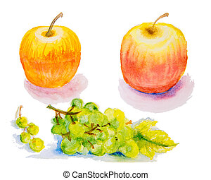 Watercolor illustration of an apple