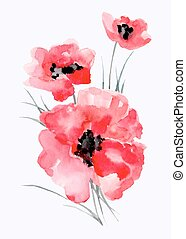 Watercolor illustration of ared flower on a white background.