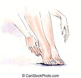 Watercolor  illustration of body care, salon of manicure and pedicure