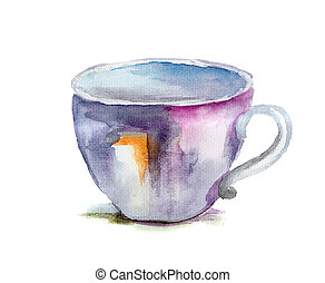Watercolor illustration of cup