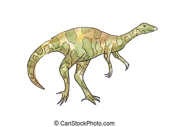 Watercolor illustration of dinosaur. Green allosaurus