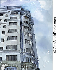 watercolor illustration of modern building