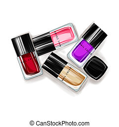 Illustration of nail polish bottles - Watercolor...