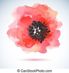 Watercolor illustration red flower.