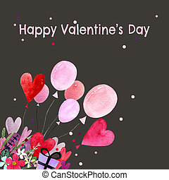Watercolor illustration with balloons, hearts, leaves, herbs and flowers. Happy Valentine's Day. Love text