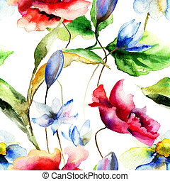 Original watercolor illustration with flowers, seamless pattern