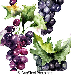 Watercolor illustration with grape cluster, Seamless pattern...