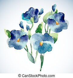Watercolor illustrations of violet flower isolated on white background.