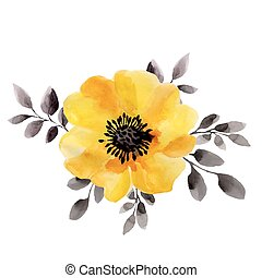 Watercolor illustrations of yellow flower isolated on white background.