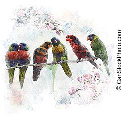 Watercolor Image Of Colorful Parrots - Watercolor Digital...