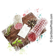 Watercolor Image Of Hard Salami,Herbs and Spices -...