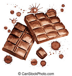 pieces of chocolate - Watercolor image of pieces of ...