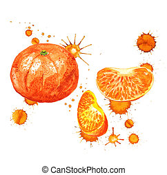 tangerine with paint blots - Watercolor image of tangerine...