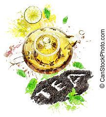 Watercolor Image Of Tea Pot - Watercolor Digital Painting Of...
