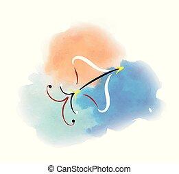 watercolor image of the sagittarius zodiac sign