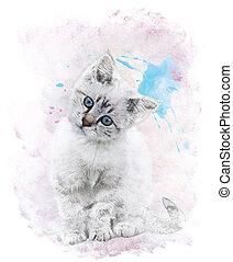 Watercolor Image Of White Kitten