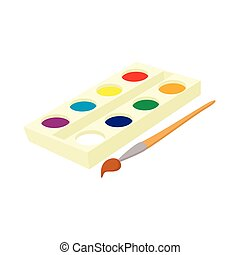 Watercolor in a box with brush icon, cartoon style