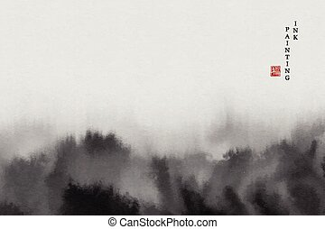 Watercolor ink paint art vector texture illustration abstract landscape of mountain. Translation for the Chinese word : Blessing