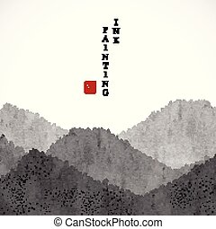 Watercolor ink paint art vector texture illustration landscape view of mountain. Translation for the Chinese word : Blessing