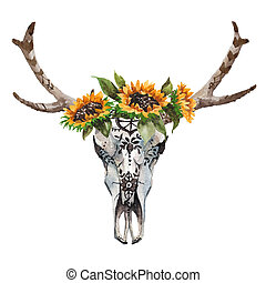 Watercolor isolated bull's head with flowers and feathers on...