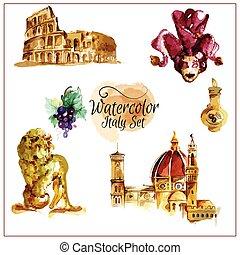 Watercolor Italy Set