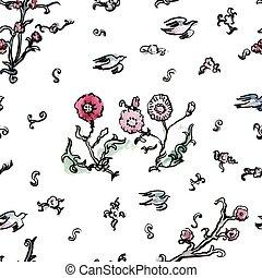 Watercolor japanese oriental pattern.