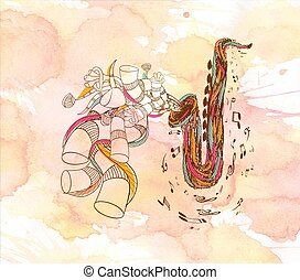 watercolor Jazz Saxophone