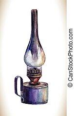Watercolor kerosene lamp. - Vintage lantern. Vector...