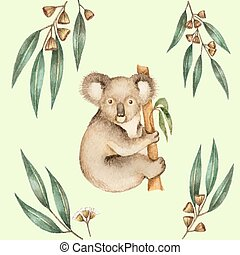 Koala - Watercolor Koala and the eucalyptus branches. Vector...