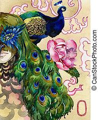 watercolor, koning, peacocks