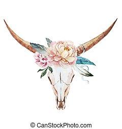watercolor, kranium, tyr