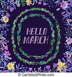 watercolor, krans, maart, hallo, tekst
