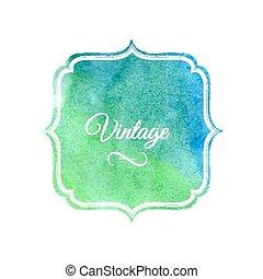 Watercolor label design element