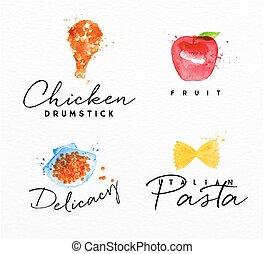 Watercolor label pasta