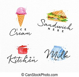 Watercolor label sandwich - Set of watercolor labels...