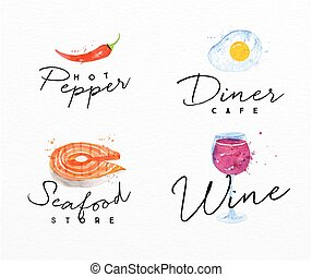 Watercolor label seafood