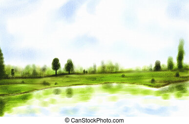 a watercolor painting of trees reflecting in a beautiful lake