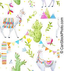Watercolor lama pattern - Seamless pattern with watercolor...