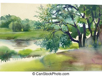 Near the River - Watercolor Landscape Collection: Near the...