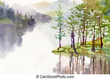 Watercolor Landscape Collection: Village Life background,...