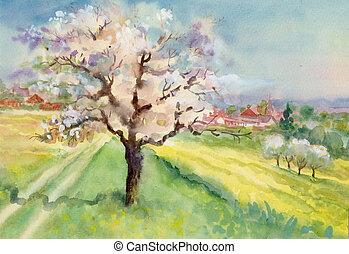Watercolor Landscape Collection: Village Life background, ...