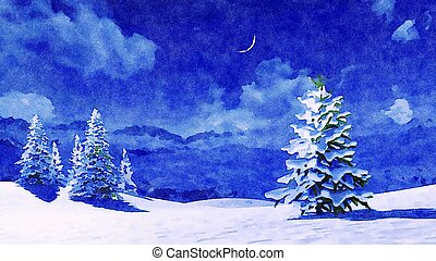 Watercolor landscape of snowy firs at winter night - ...