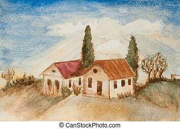 watercolor landscape painting of houses, trees on a hill