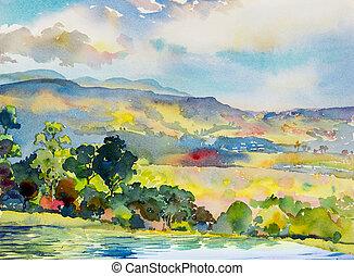 Акварельный пейзаж картина красочные горы и луга в Панорама вид и эмоции сельского общества, природа красота горизонта фоне. Ручная роспись полуабстрактная иллюстрация в Азии.