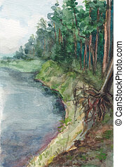 Watercolor landscape. The majestic northern expanse of the mighty river flowing among the spruce forest, summer