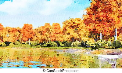 Watercolor landscape with autumn trees and lake - Panoramic...