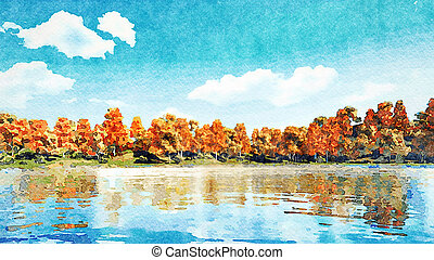 Watercolor landscape with autumn trees and pond