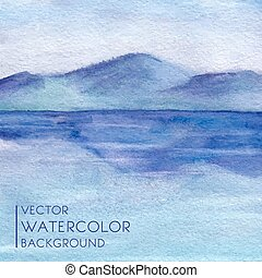Watercolor landscape with lake and mountains in vector.