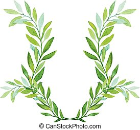 Watercolor Laurel Wreath Isolated on White Background.
