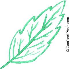 Watercolor leaf illustration. Vector